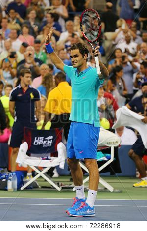 Grand Slam champion Roger Federer celebrates victory after third round match at US Open 2014