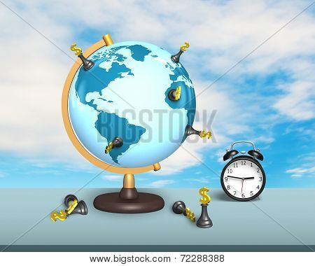 Dollar Chess On Terrestrial Globe With Clock