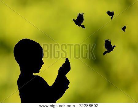 Silhouette of a Muslim praying