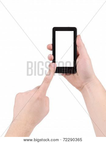 Hand touching screen of smartphone.