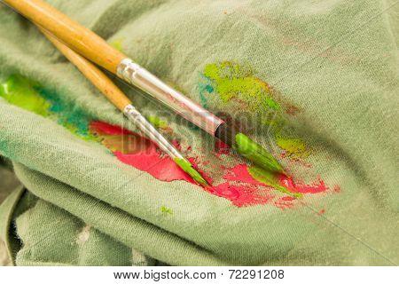 Paintbrush On Dirty Fabric