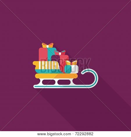 Christmas Presents And Sleigh Flat Icon With Long Shadow Eps10