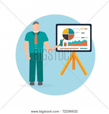 Business Man Standing Pointing At Chart And Presentation