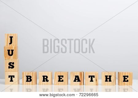 Wooden Blocks Spelling - Just Breathe