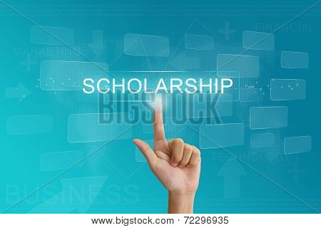 Hand Press On Scholarship Button On Touch Screen