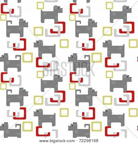 Seamless Kids Pattern Texture With Pixel Dogs And Geometric Elements On White