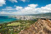 stock photo of waikiki  - Aerial view of Honolulu and Waikiki beach from Diamond Head - JPG