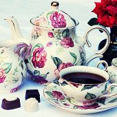image of english rose  - Traditional english tea with floral dishware and rose - JPG