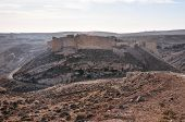 stock photo of crusader  - Ruins of the old crusader Shobak Castle in Jordan on a hill.
