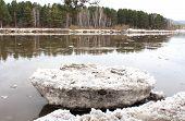 stock photo of kan  - Beached Kan River floe near Zelenogorsk - JPG