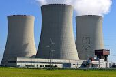stock photo of smog  - Nuclear power plant Temelin in Czech Republic Europe - JPG