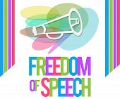 stock photo of freedom speech  - Freedom of speech concept image with horn and colorful text - JPG