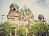 stock photo of dom  - Vintage looking Berliner Dom cathedral church in Berlin Germany - JPG