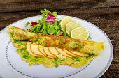 foto of scallion  - Vegetarian scallion omelette bio eggs swiss cheese slised lime - JPG