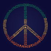 picture of rasta  - Vector peace symbol made of words  - JPG