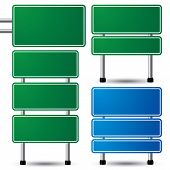 stock photo of traffic sign  - Blank green and blue traffic road sign set on white background for your message - JPG