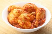 foto of kadai  - Spicy and hot Chicken curry  in a white bowl - JPG