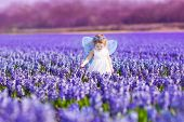 stock photo of magic-wand  - Portrait of an adorable toddler girl in a magic fairy costume and flower crown in her curly hair playing with a wand in a beautiful field of purple hyacinths in Keukenhof Holland on windy spring day - JPG