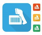 picture of barcode  - Barcode label with reader icon set multi color set - JPG