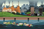 pic of polluted  - A vector illustration of pollution in the city for pollution concept - JPG