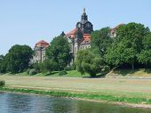 image of suny  - suny scenery including a historic building at River Elbe near Dresden in Saxony  - JPG