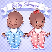 stock photo of twin baby girls  - Card for Baby Shower  - JPG