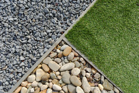 picture of combinations  - Landscaping combinations of grass pebble and stones - JPG