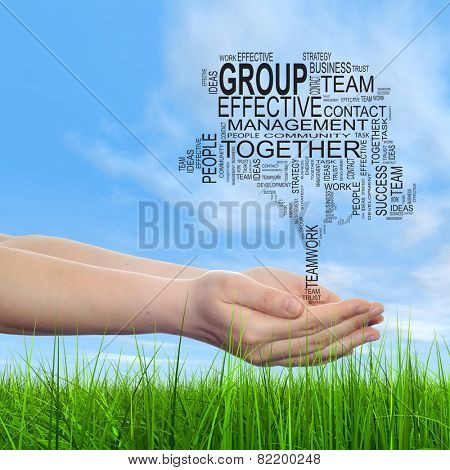 Concept conceptual text word cloud on man hand, tagcloud on blue sky background and grass, metaphor to business, team, teamwork, win, management, effective, success, communication, company or group