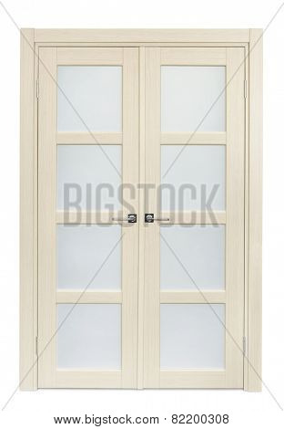 White oak interior double door isolated on white