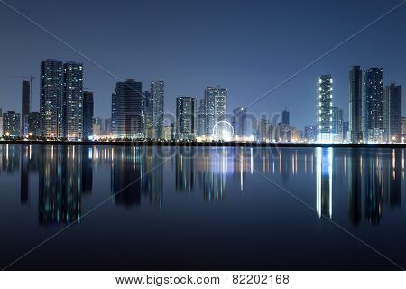 Sharjah City Skyline At Night
