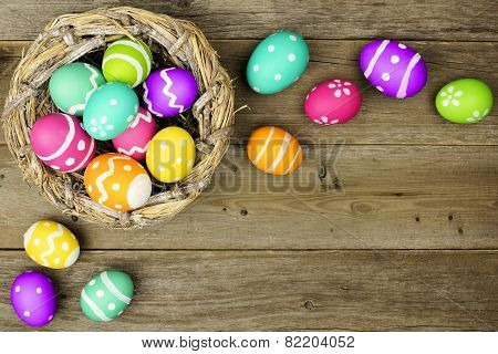 Easter egg border on wood