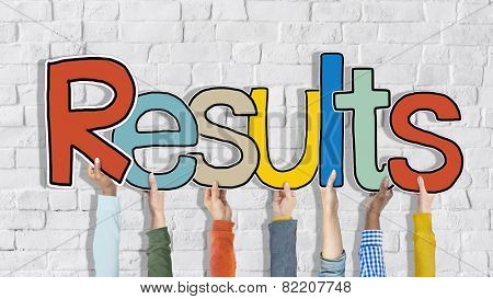 The Word Results on a Brick Wall Background