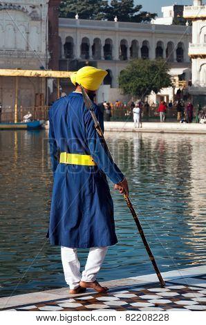 Sikh Guard At Golden Temple. Amritsar. India
