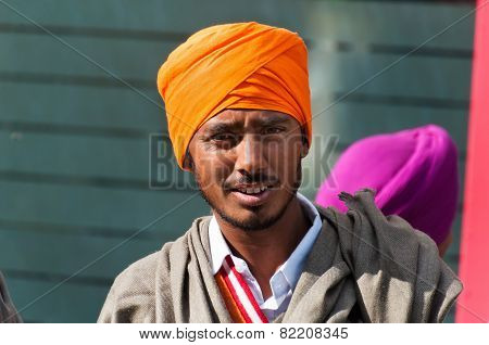 Indian Young Sikh Man On The Street In Amritsar. India