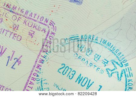 Admitted Stamp Of Korea Visa For Immigration Travel Concept