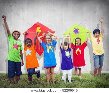 Children Friends Kite Colourful Kids Smiling Concept