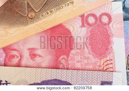 Chinese Or 100 Yuan Banknotes Money  From China's Currency, Close Up View As Background