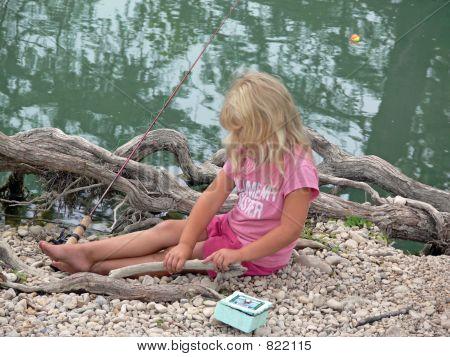 Little girl fishing