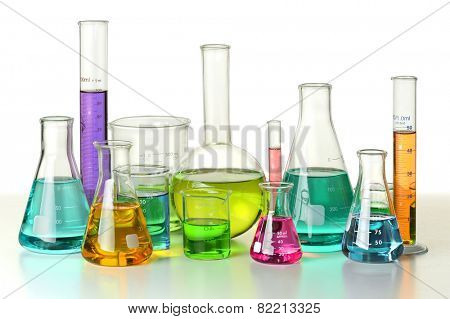 Laboratory glassware on isolated over white background - With Clipping Path on glassware