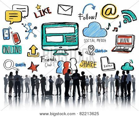 Silhouette Group Business People Discussion Social Media Concept