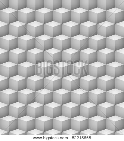 Abstract seamless 3D white cubes vector background.