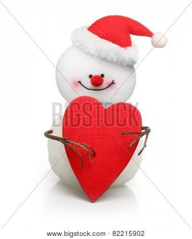 Snowman with wooden red heart isolated on white background.