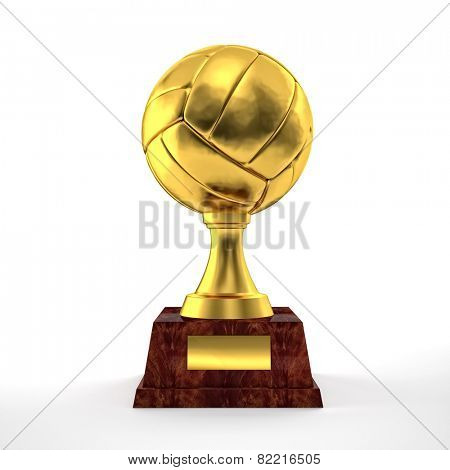 golden volley trophy on white