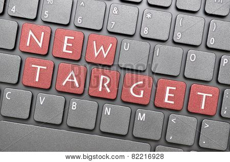Red new target key on keyboard