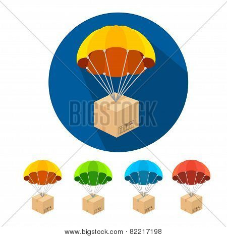 Vector flat parachutes icons set