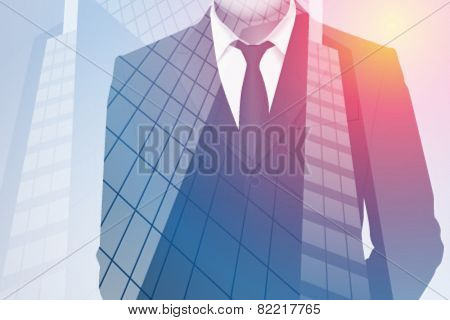 Vector double exposure illustration. Business man plus office building