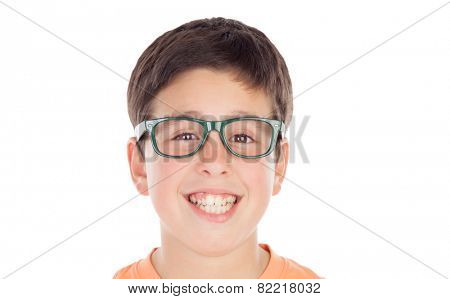 Funny teenage boy of thirteen looking at camera isolated on white background