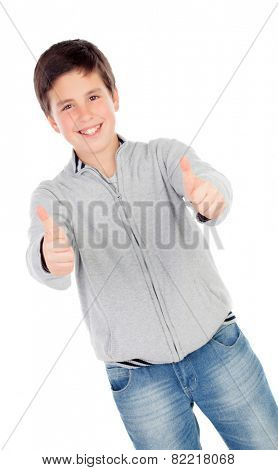 Smiling teenage boy of thirteen saying Ok isolated on white background