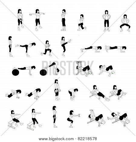 Fitness Exercises Set