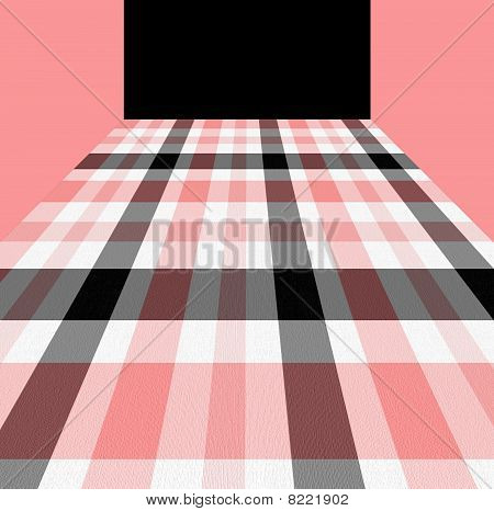Pink, White And Black Checkered Pattern